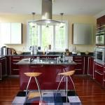 مطبخ باللون العنابي مع ارضيات باللون البني  - 76100