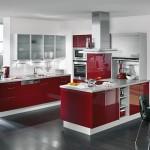 حوائط باللون الابيض بالمطبخ العنابي المودرن  - 76101
