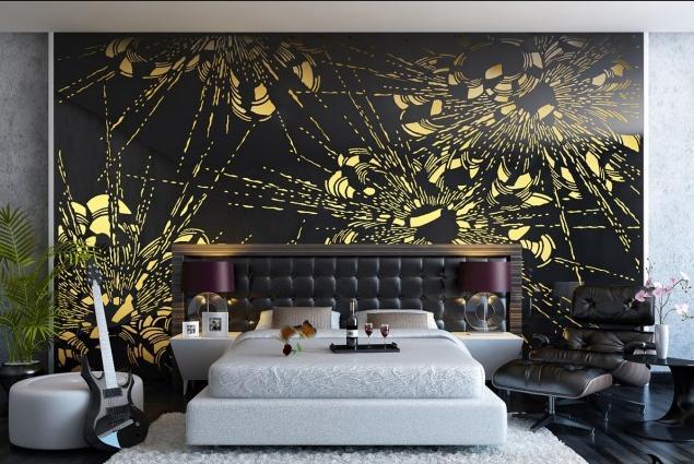 اشكال رائعة لجدران غرف النوم باللون الاصفر والاسود | المرسال