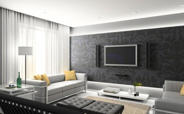 اللون الرمادي بروق الحائط بغرف الاستقبال   المرسال