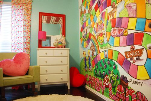 ����� ����� ����� ������ ������� Candyland-Mural-With-Mirror-Frame-Bright-Red-And-White-Rug-Also-Glass-Jars-Throughout-The-Room.jpg