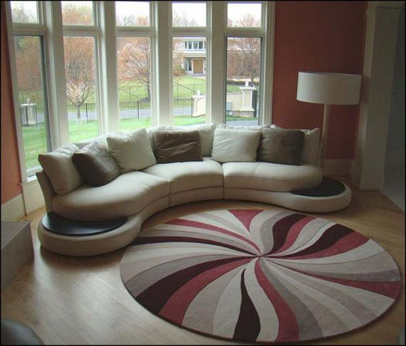 Living Room Designs 2014: اشكال دائرية للسجاد مودرن