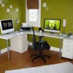 حوائط لون اخضر بغرف مكتب انيقة  - 82086