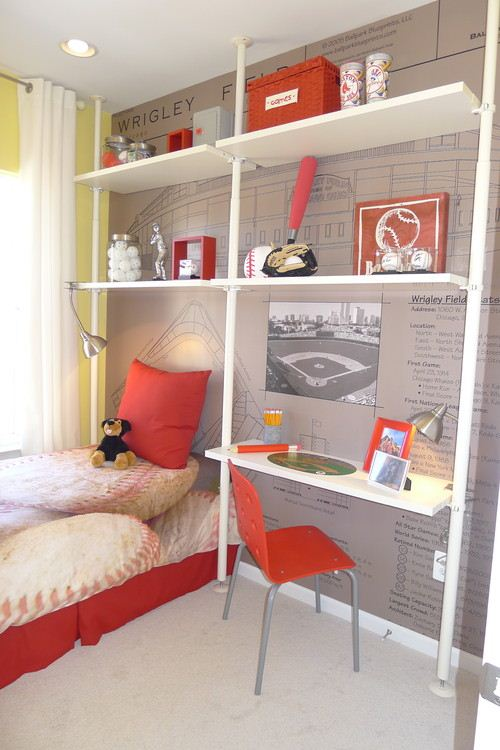 ����� ����� ����� ������ ������� Sport-Themed-Kids-Room-Wallpaper-With-Shelves-Storage-Mounted-On-Wall.jpg