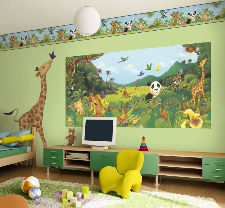 ����� ����� ����� ������ ������� amazing-children-bedroom-decorating-ideas-with-mural-wall-jungle-wall-design-ideas-kids-bedroom-decorations.jpg