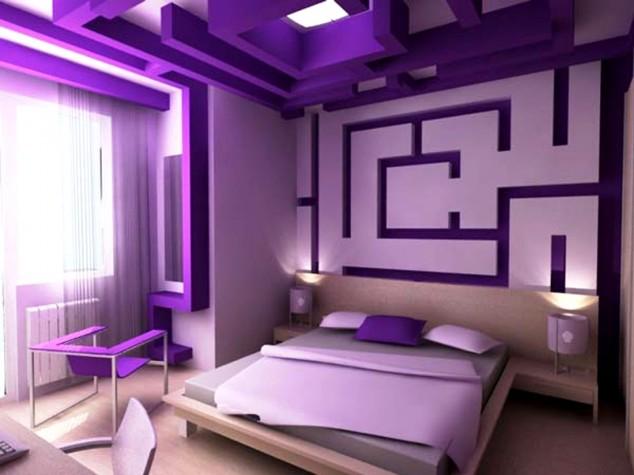 اسقف مبهرة بغرف نوم لون بنفسجي | المرسال