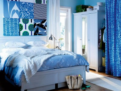 اروع موديلات غرف نوم زرقاء اللون   المرسال