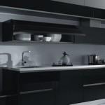 رخامة باللون الابيض بمطبخ قبنوري باللون الاسود  - 80862