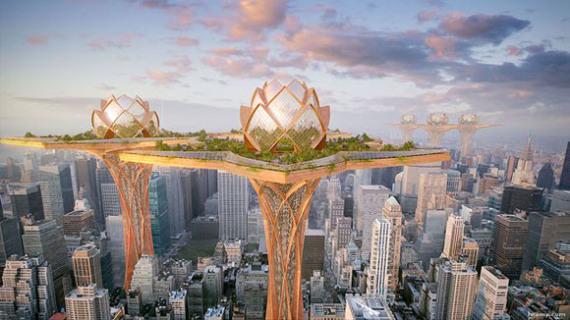 صورة لمدينة في السماء
