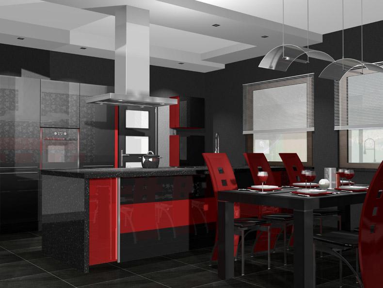 مطبخ احمر واسود من افضل محلات المطابخ قي المدينة المرسال