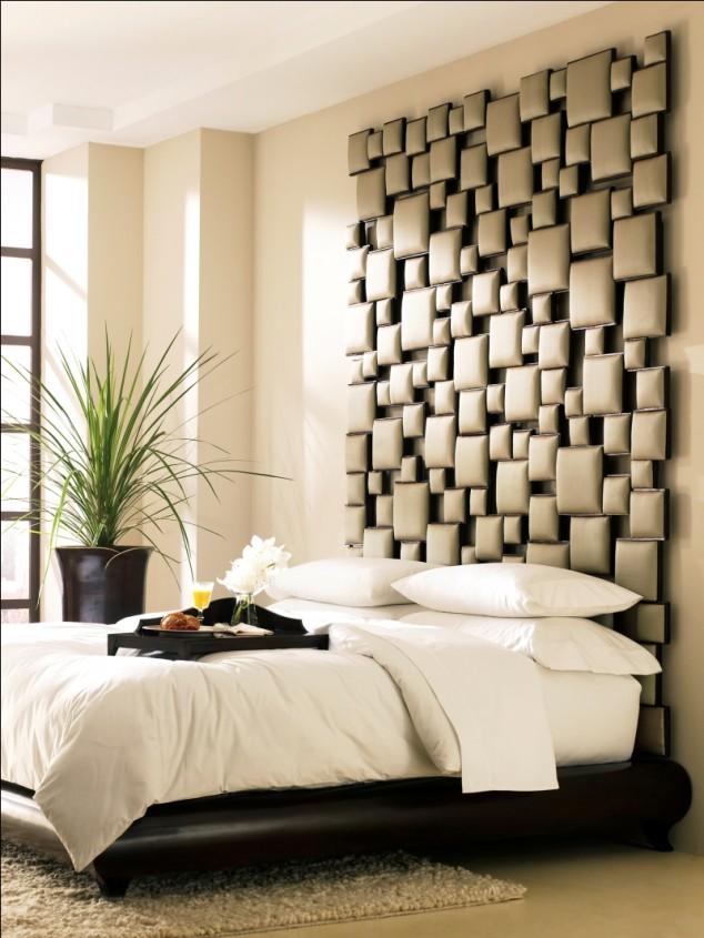 خلفية سرير باللون البيج بغرف النوم المبتكرة | المرسال