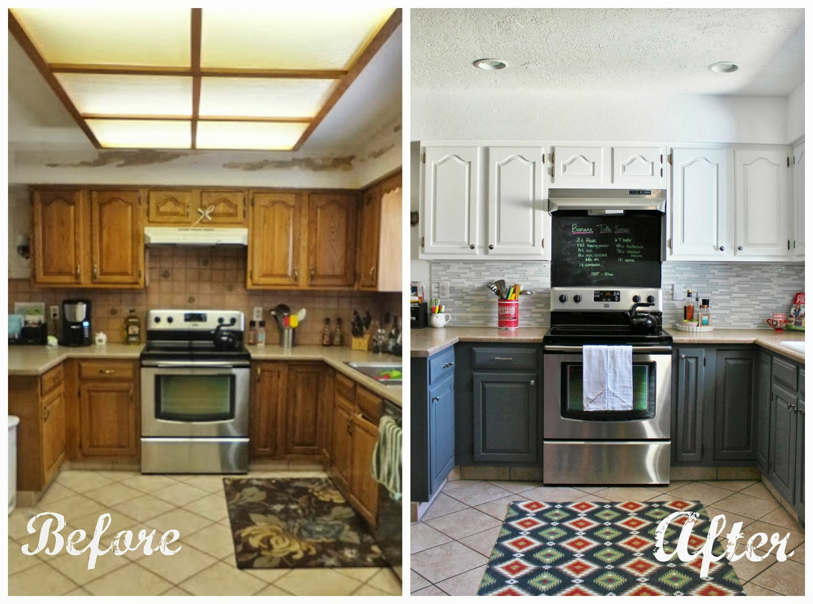 before and after photos of painted kitchen cabinets مطبخ مختلف بعد التعديل المرسال 11961