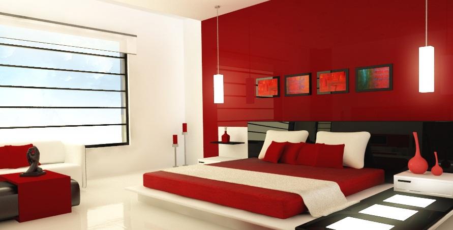 غرف نوم باللون الأحمر والأبيض | المرسال