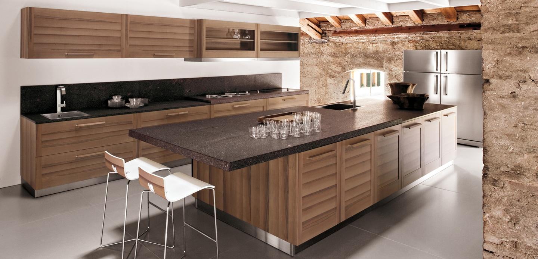 Modern wooden kitchen - Modern keukenplan ...