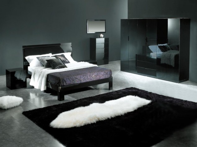 bedrooms decorated in black المرسال 10847 | modern white and black bedroom wall with pillow blanket carpet l mirror table cupboard and ceramic flooring 915x686 634x475