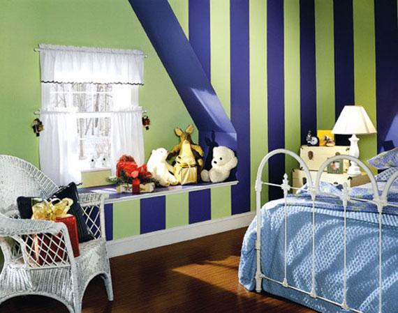 غرف نوم شباب مخططة باللون الازرق | المرسال