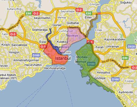 خريطة المناطق السياحية الرئيسية في اسطنبول