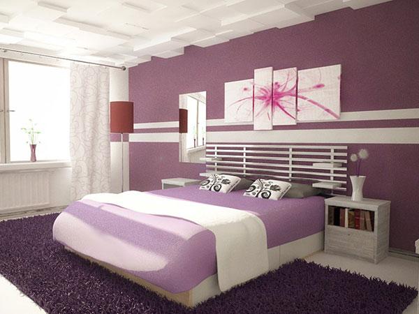 سرير خشبي بغرف نوم باللون البنفسجي | المرسال