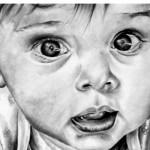 وجه طفل صغير مرسوم  بالقلم الرضاص - 103434