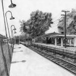 محطة قطار مرسومة بالقلم الرصاص - 103443