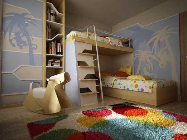 ������ ���� ���� ٢٠١٤ Bunk-Beds-tropic-style-color-carpet-palms-walls.jpg