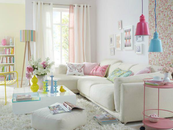 غرفة جلوس ناعمة بالوان الربيع الجميلة | المرسال