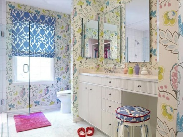 ديكورات جميلة لحمامات الاطفال بألوان متعددة