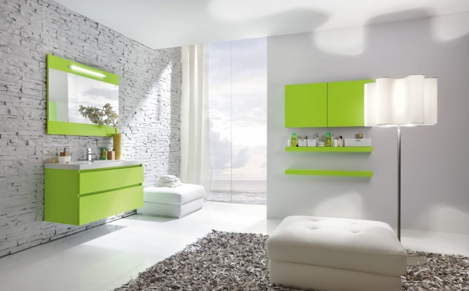ديكورات حمامات باللون الاخضر مودرن