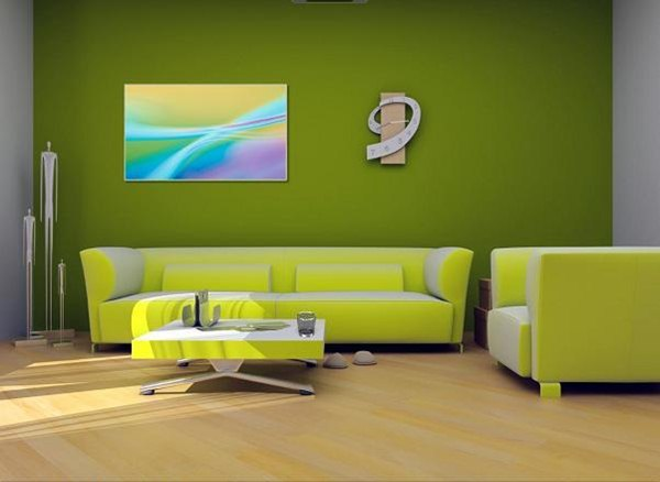 Color of the walls in the living room for Lime green living room wallpaper