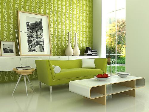 تصاميم غرف معيشة مبهجة باللون الاخضر