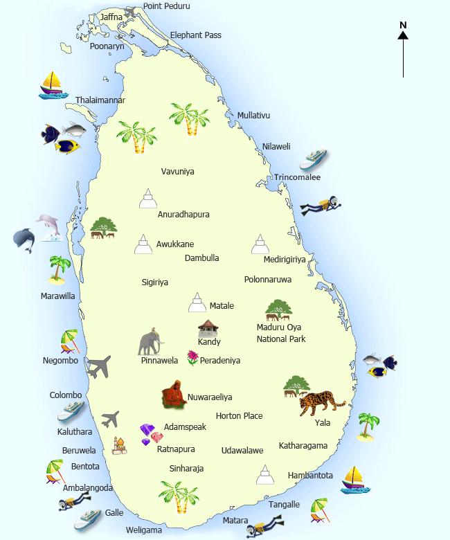 خريطة سريلانكا السياحية