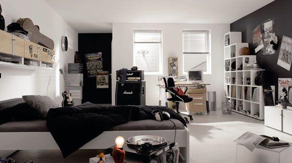 غرف نوم اولاد مراهقين باللون الابيض والاسود