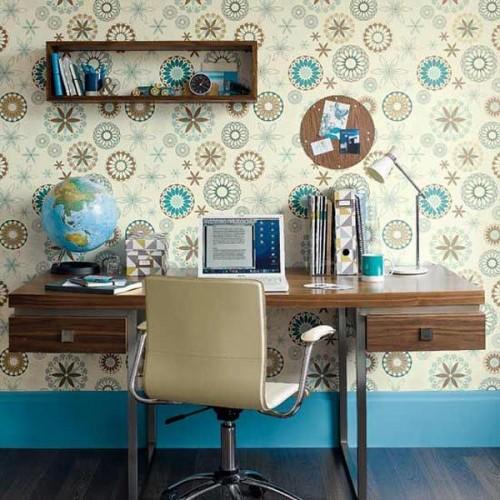 ديكورات مكاتب مودرن انيقة لغرف الدراسة: ورق حائط لغرف المكاتب المنزلية