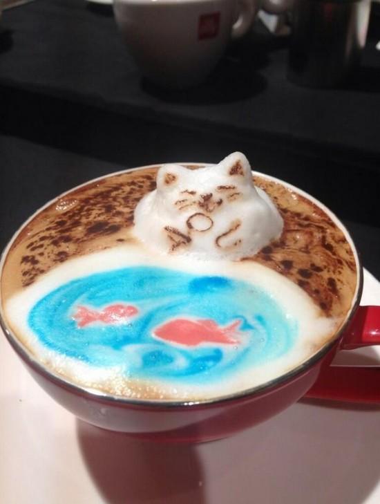 رسومات ثلاثية الأبعاد على القهوة المرسال