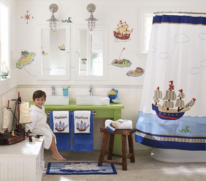 اروع تصاميم حمامات الاطفال باللون الابيض والازرق