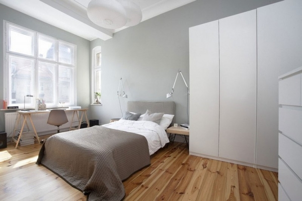 ����� ����� ������� ٢٠١٥ modern-bedroom-design-ideas-hard-wood-floor-gray-white-bedding-set-white-wardrobe-Poznan-Apartment.jpg