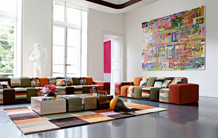 colorful living room تصميم وسائد حديثة   صور خداديات الوان مختلفة