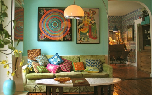 vintage furniture blue wall تصميم وسائد حديثة   صور خداديات الوان مختلفة