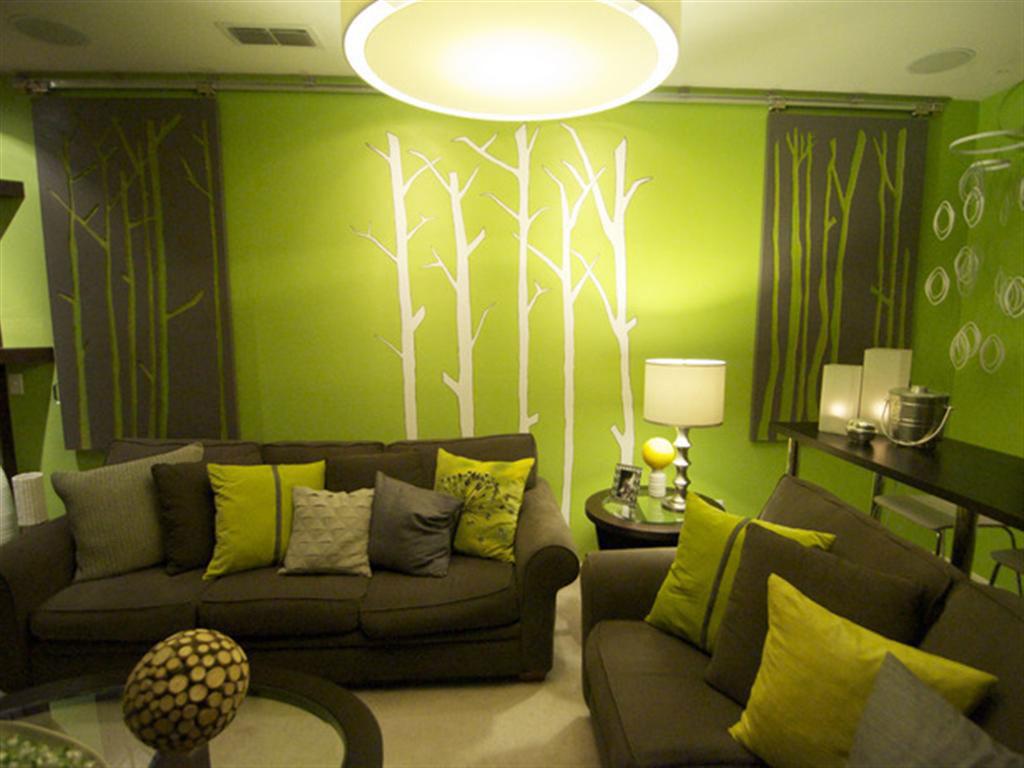 غرفة معيشة رمادي في أخضر | المرسال