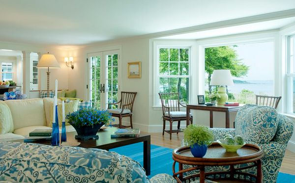 ديكور غرفة جلوس باللون الازرق | المرسال
