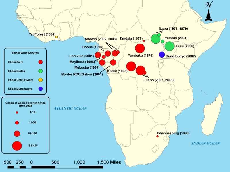 حالات حمى الإيبولا في أفريقيا