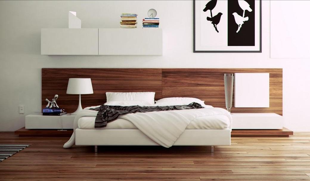 ارضية باركيه وخلفية للسرير بغرف نوم خشب ابيض | المرسال