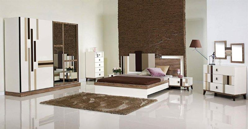 غرفة نوم بني وابيض لامعة من هاي بوينت | المرسال