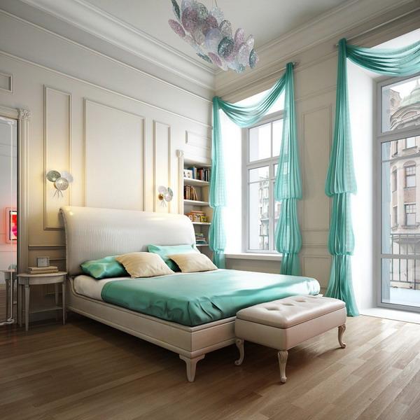 لون تركواز شفاف بغرف نوم رومانسية 2015 | المرسال