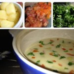 تزيين شوربة البطاطس بالطماطم والبقدونس
