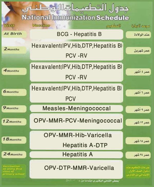 جدول التطعيمات الإضافية للأطفال من سن شهرين وحتى 6 سنوات