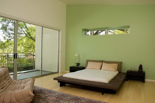 جدران سادة بلون زيتي بغرف النوم | المرسال