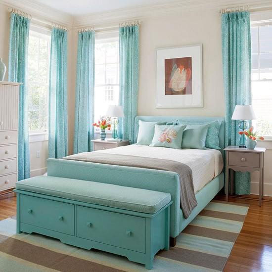 احلى ستائر غرف نوم باللون التركواز | المرسال