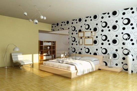 ورق جدران ابيض واسود بغرفة نوم عصرية | المرسال