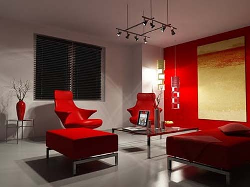 New red living room design for Red and black themed living room